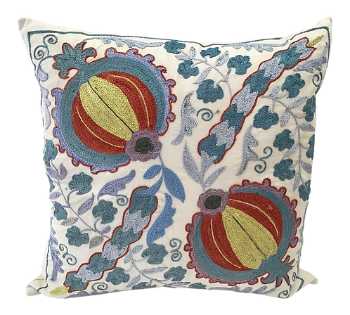 Boho Chic Hand Embroidered Multi Colored Pillow With Linen Back Ground