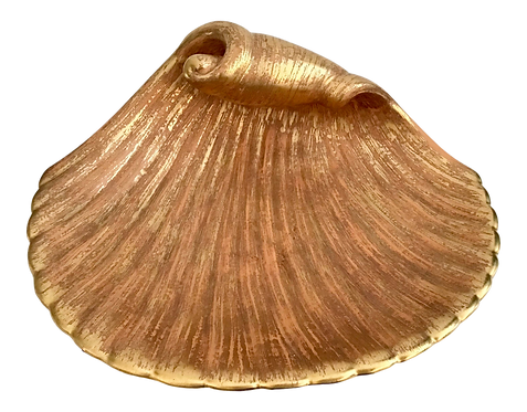 Faux Gilt Shell Pottery Bowl