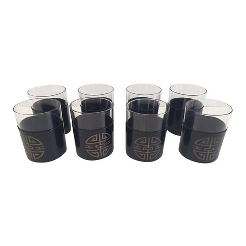 Mid-Century Modern Chinoiserie Black Vinyl Detailed Rock Glasses - Set of 8