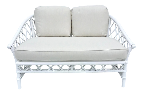Ficks Reed Loveseat in White Lacquer and New Sunbrella Upholstery