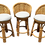 Thumbnail: Boho Chic Rattan Counter Stools With New Todd Hase Upholstery and Textiles - Set