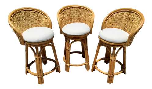 Boho Chic Rattan Counter Stools With New Todd Hase Upholstery and Textiles - Set