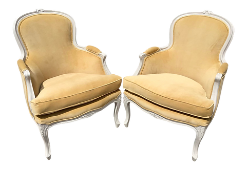 Classic French Louis XV Bergere Chairs in New Todd Hase Upholstery - a Pair