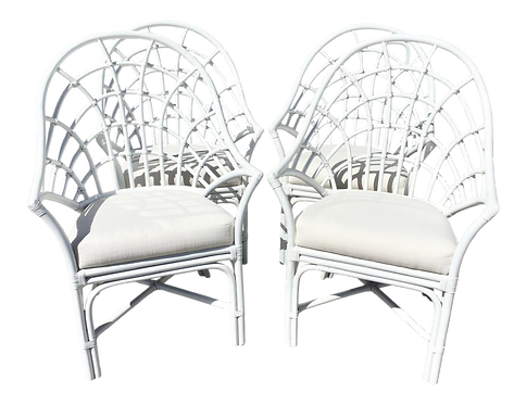 Century Freshly White Lacquer Rattan Arm Chairs - Set of 4
