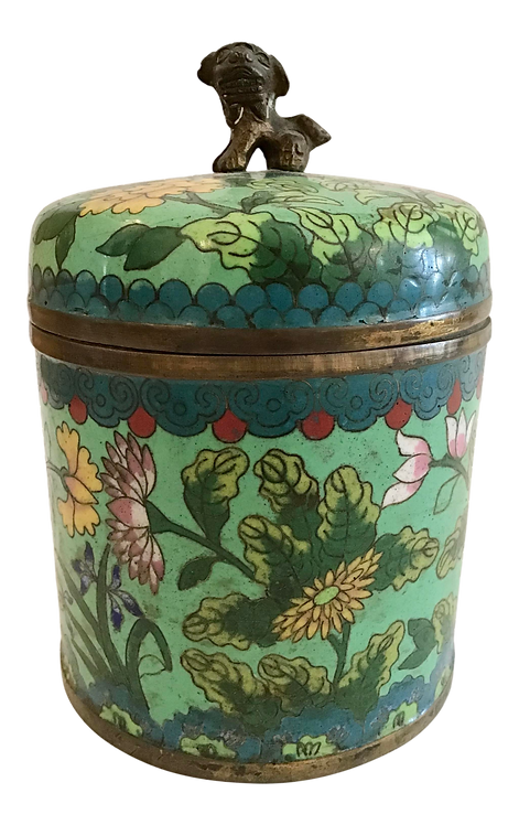 Mid 19th Century Green Cloisonné Covered Jar