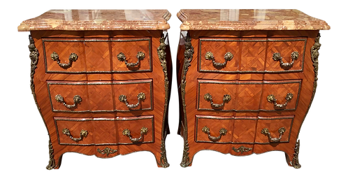 Small French Regency Nightstands With Marble Tops - a Pair