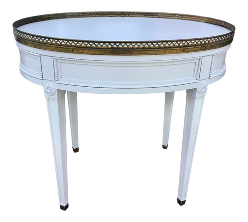 Classic French Louis XVI Oval Side Table With Drawer