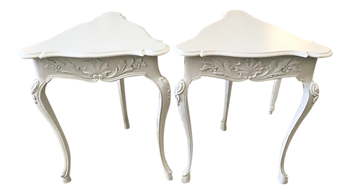 Triangular French Louis XV Side Tables - a Pair