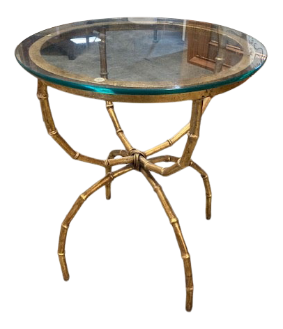 Faux Bamboo Gilt Metal Side Table