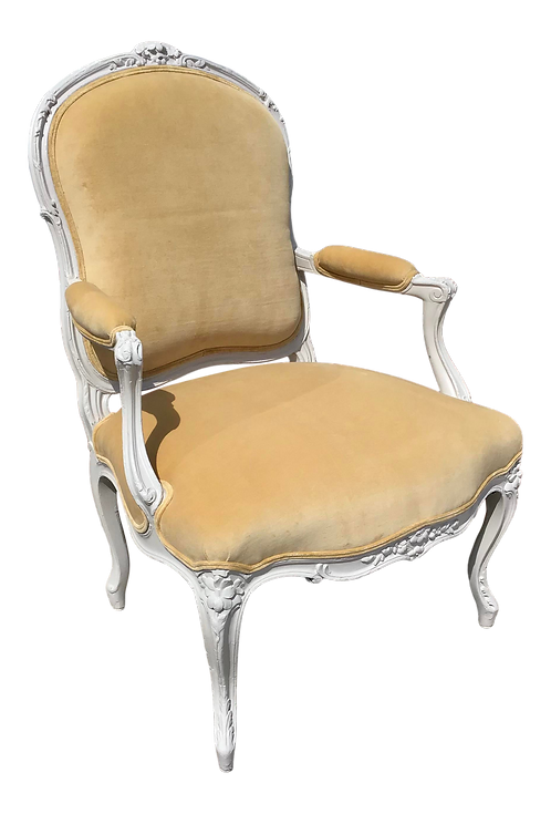 Classic French Louis XV Fauteuil Chair in New Gold Velvet Upholstery
