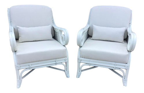 Boho Chic White Rattan Club Chairs in New Todd Hase White Upholstery - a Pair