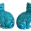 Thumbnail: Asian Turquoise Ceramic Cats - a Pair