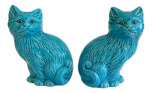 Asian Turquoise Ceramic Cats - a Pair