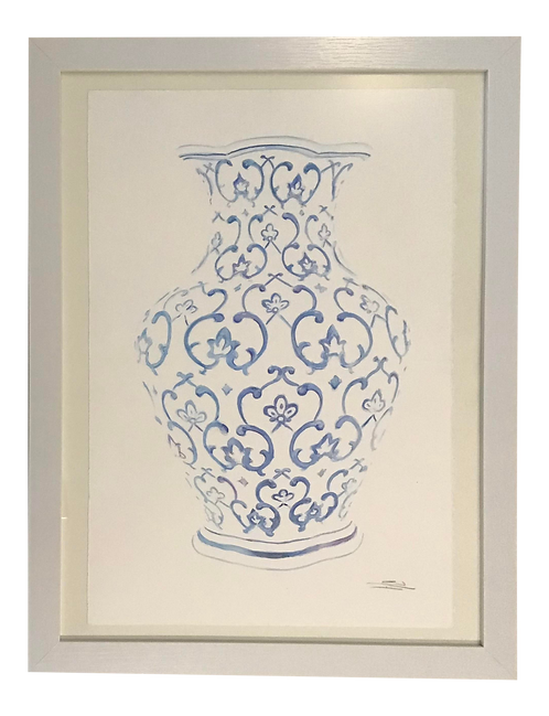 Hand Painted Blue and White Vase Watercolor Painting