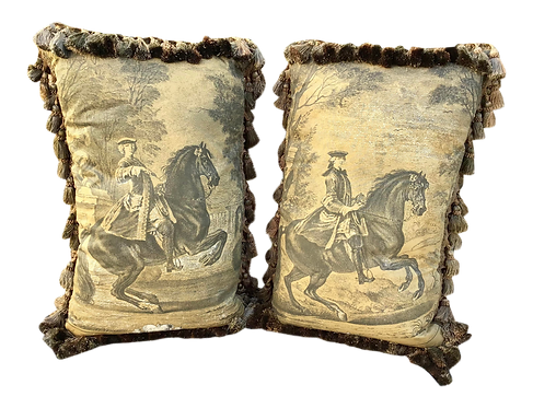 Rectangular Pillows of Noble Men on Horses - a Pair
