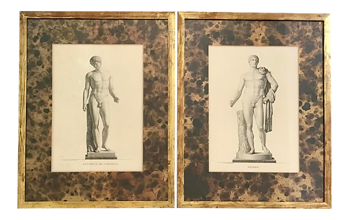 French Male Etchings - a Pair