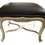 Thumbnail: French Louis XV Bench With Black Leather Upholstery