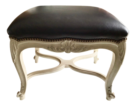 French Louis XV Bench With Black Leather Upholstery