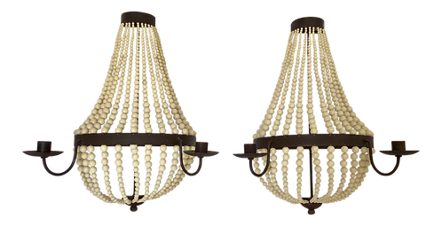 Empire Beaded Candlestick Wall Sconces- a Pair