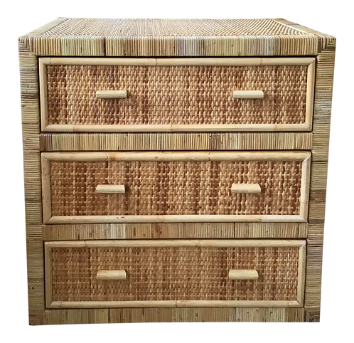 Boho Chic Rattan Bielecky Brothers Chest of Three Drawers