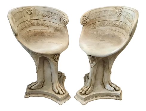 Classical Plaster Tripod Base Garden Accent Chairs in a Faux Stone Finish
