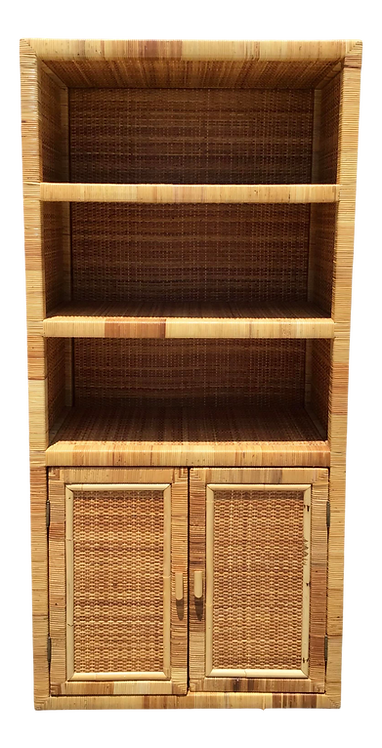 Bielecky Brothers Rattan Etagere With Lower Doors