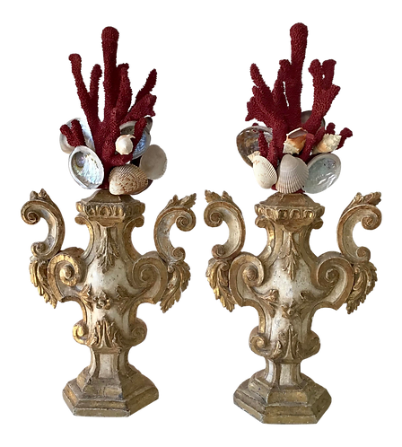 Pair of Faux Coral Fantasy Urns