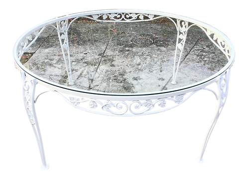 French Round Patio Coffee Table in New White Lacquer