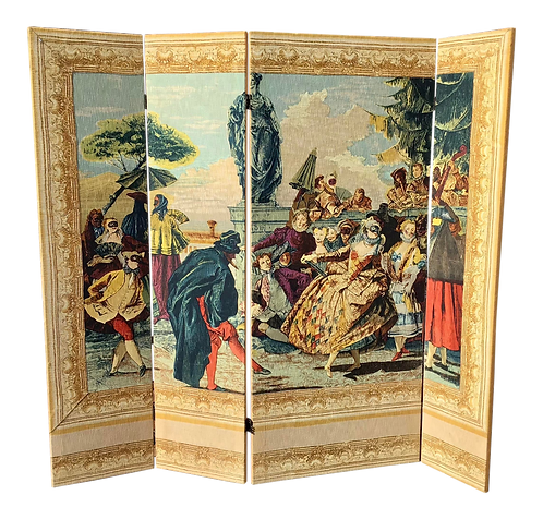 French Woven Folding Screen With 18th Century Scene