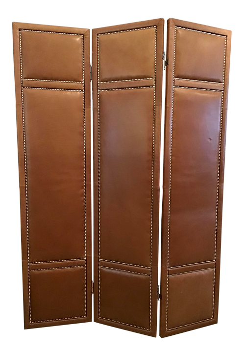 Custom Leather 3 Panel Large Folding Screen With Chrome Nailheads