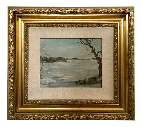 "1950s French ""Winter"" Landscape Painting"