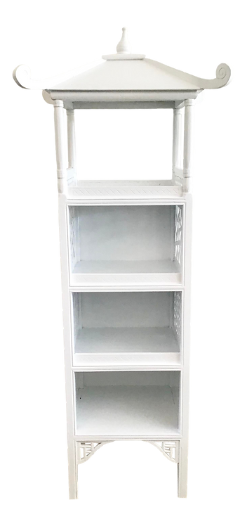 Pagoda Etagere in a White Lacquered Finish