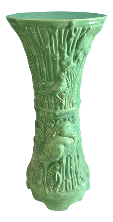Asian Green Ceramic Small Pedestal Cocktail Table