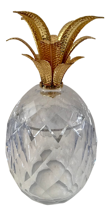 Clear Lucite and Metal Pineapple Ice Bucket