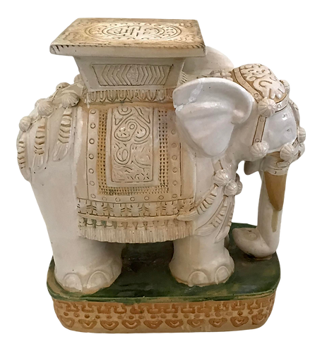 Glazed Terra Cotta Elephant Garden Seat in Whites and Yellows