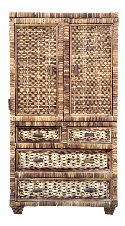 Boho Chic Rattan Armoire With Drawers