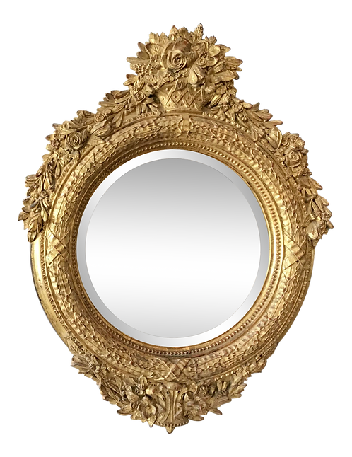 French Style Craved Gilt Wood Round Mirror