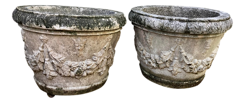 French Limestone Classical Planters - a Pair