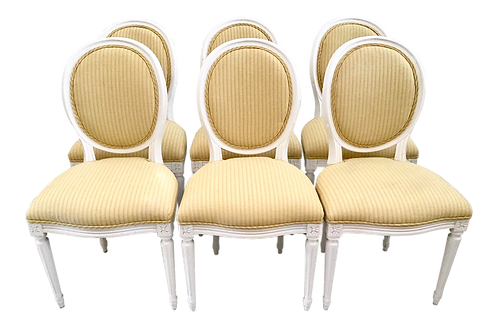 18th Century French Louis XVI Dining Side Chairs - Set of 6