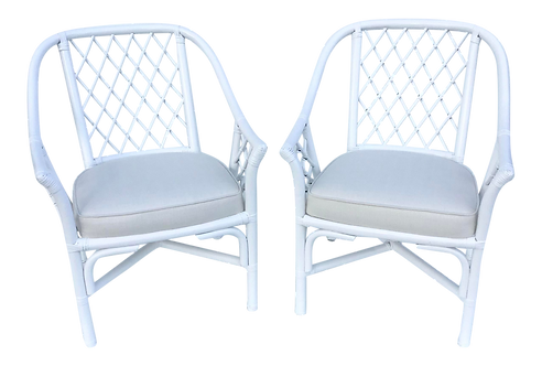 Ficks Reed Barrel Chairs in White Lacquer and Todd Hase Textiles - a Pair