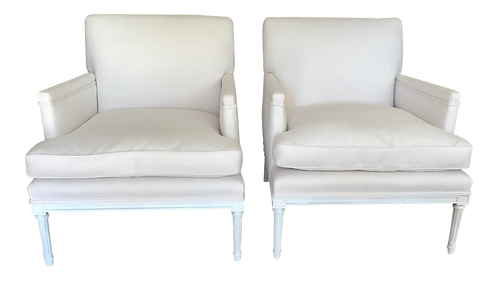 French 1940's Louis XVI Club Chairs in New Sunbrella Upholstery - a Pair