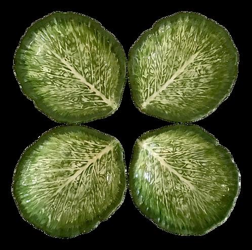 Ceramic Green Lettuce Leaf Shape Dish - Set of 4