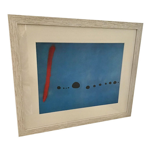Joan Miro Mid-Century Lithograph Framed in Cypress Frame
