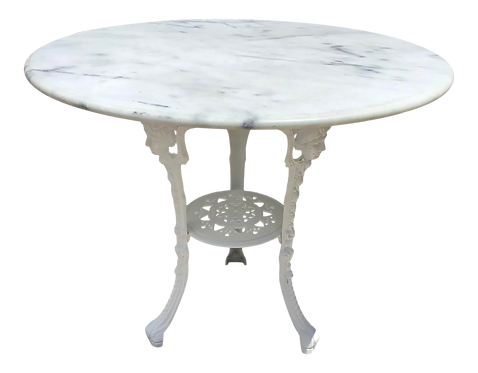 Outdoor Table With Pedestal and Marble Top