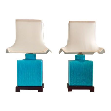 Vintage Mid-Century Turquoise Asian Table Lamps - a Pair