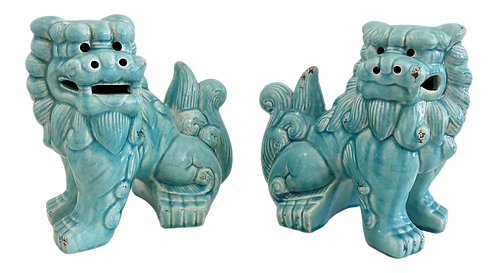 Modern Turquoise Ceramic Foo Dogs - a Pair