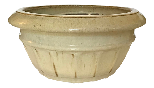 Large Taupe Glazed Terra Cotta Cache Pot