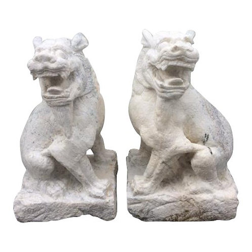 Hand Carved White Granite Foo Dogs - A Pair