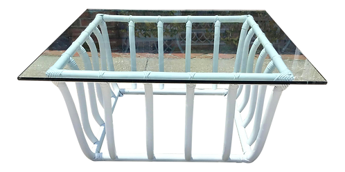 Large Boho Chic White Rattan Square Coffee Table With Glass Top