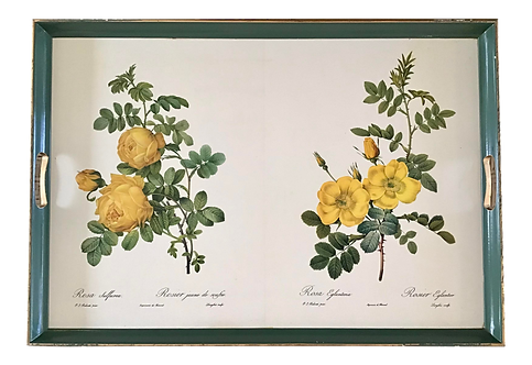 Serving Tray With Drawings of Flowers